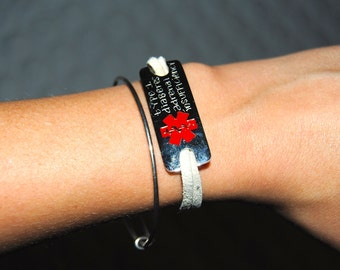 Silver + Suede Personally Engraved Medic Alert Bracelet