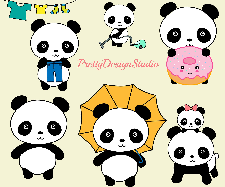 """Cute Panda clipart: """"KAWAII PANDA CLIPART"""" Baby Panda ..."""
