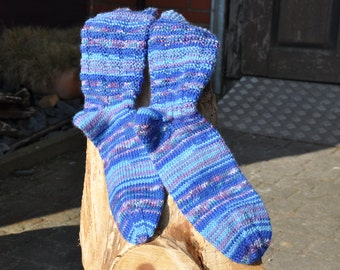 Socks hand knitted purple/blue size 39/40