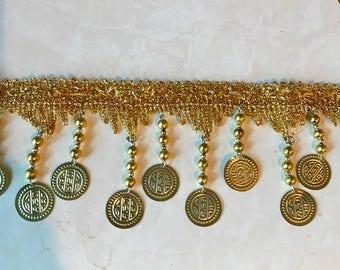 Metal Coin & Beaded Fringe 3'' Long In Gold. price Per Yard