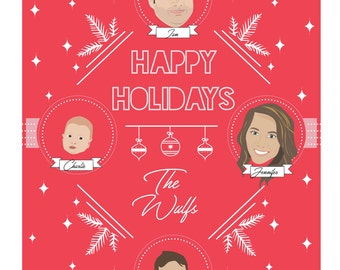 Custom illustrated family friends portrait illustrations holiday christmas cards