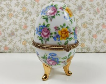 Vintage Floral Egg, Fine Porcelain, Gold Gilded Egg, Hinged Trinket, Jewellery Box, Pin Cushion