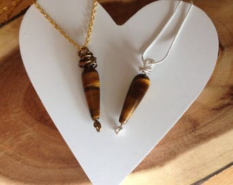 Tiger eye necklace, gemstone pendant, silver, antique bronze, wire wrapped with chain necklace, handmade jewelry, gift for her