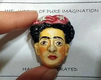 Frida Kahlo Brooches.pin. Brooch. Hand painted.hand made. Hand sculptured.Fair trade