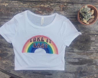 TOKE IT EASY Rainbow Womens White Crop Top