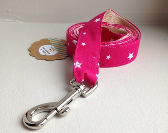 Pink star dog leash / let Doggie / medium dog leash / dog leash / leash made in france / handmade