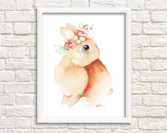 Baby Bunny red illustration / animal print 8 x 10 / watercolor drawing / Bunny flower Crown / Katrinn Pelletier