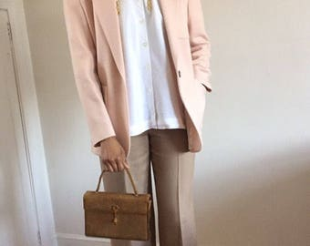 Blush Pink 100% Wool 90s Relaxed Fit Blazer
