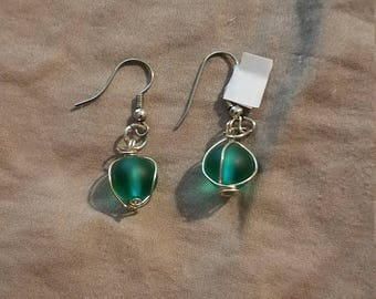 SALE!! Teal Glass Hanging Earrings