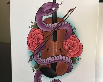 Snake/Violin art-snake artwork-snake and violin decor-print