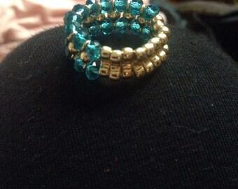 Blue & Gold Beaded Ring