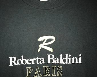 Vintage 90s Roberta Baldini Paris Chest Spellout t shirt Medium Hip Hop Rap YSL Balmain Luxury Fashion Wear
