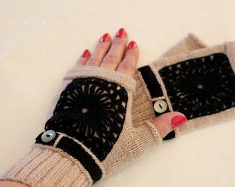 Merino Wool Fingerless gloves, Wool Arm warmers, Fingerless gloves, hand-knit