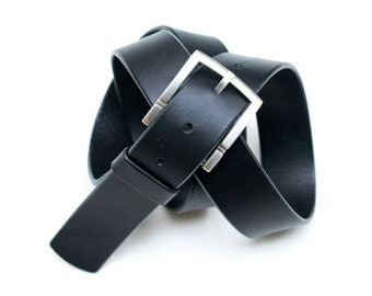 Leather Silver buckle belt - black - - 3,5 cm - length 95 cm