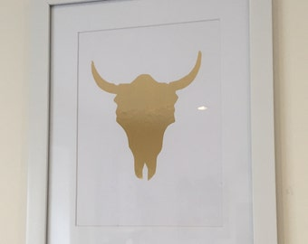 Wildebeest art, drawing, painting, not a print Hand Stenciled piece.