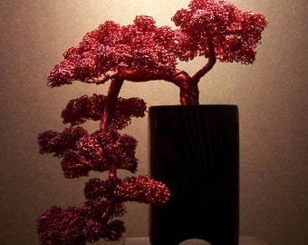 Kengai Style Bonsai Tree Wire Sculpture (red)