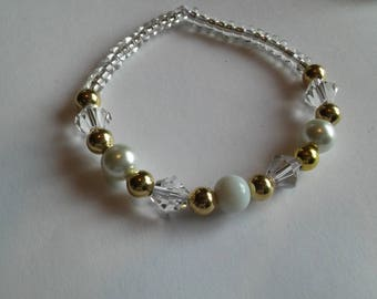 White, Pearl, and Crystal Beaded Bracelet