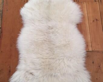 Genuine Natural Silky White British Sheepskin - Luxury rug/throw (10.4)