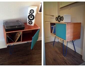 Mid Century Style Sideboard, Vinyl Storage