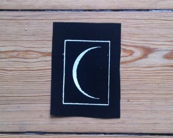 Moon Patch, Screen Printed Patch, Sew on Patch, Black Patch, Punk Patch