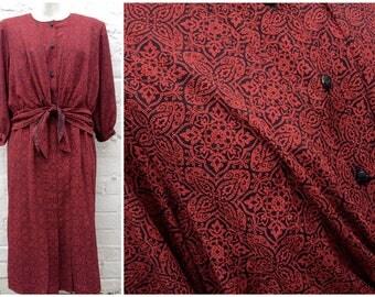 Patterned dress, vintage women's fashion, red black design