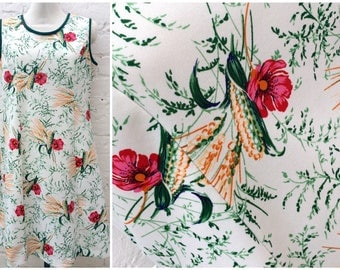 70's vintage dress, floral womenswear, summer fashion, nature inspired