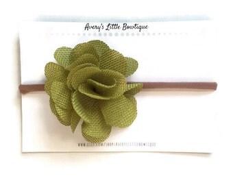 Green Burlap Headband- Newborn and Girl - Headband One size fits all - Nylon headband - Girl Hair Accessories