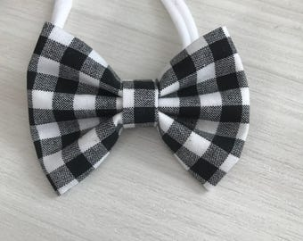 Black and white plaid bow- bow or bow tie - nylon or alligator clip- baby shower gift - headband gift set