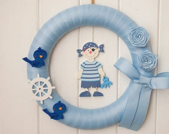 Boy Wreath, Shower Gift, Baby Wreath, Baby Shower, Newborn Wreath, Baby Birth, Baptism Decoration, Door Wreath, Wall Wreath, Home Decor, 12""