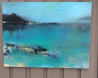 Abstract painting Original Blue Acrylic Seascape/Landscape Canvas