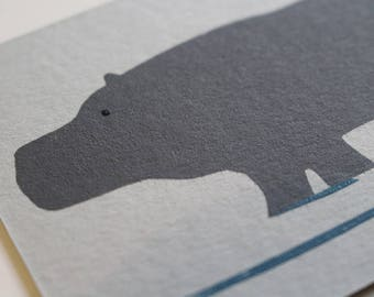 Hippo Note Cards. Set of 6 Animal Cards (A7) with Envelopes. Thank You Notes Party Invites. Hand Screen Printed.