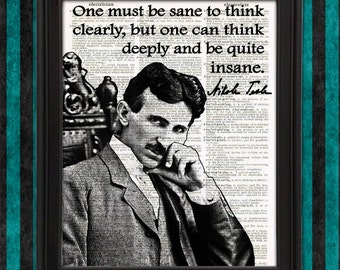 Nikola Tesla Science Poster - Framed Quote, Wall Art, Geekery, Electrician Gift Nerdy Home Decor, gift for men Science art decor Geeky Gift