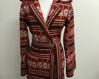 25% OFF --- Vintage 1970s Red Native American Thunderbird Sweater w/ Bell Sleeves & Waist Tie