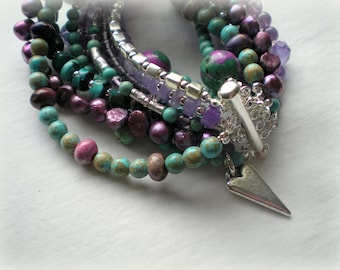 MULTI STRAND BRACELET - turquoise and purple