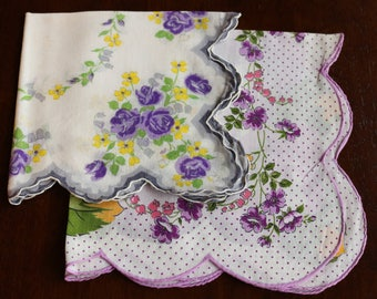 Pair of Vintage Handkerchiefs - Purple Flowers