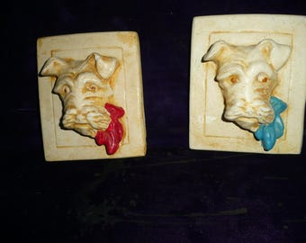 Vintage Terrier or Scotty Dog Plaques (2)