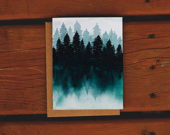 Hand Painted Original | Northern Treeline Forest | Watercolor Greeting Card | Teal | Art Print | Just Because | No Reason Card
