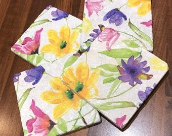 Coaster Set Spring Flowers