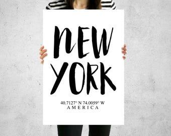 Print - New York America USA Longitude Latitude - Wall Art, Contemporary, 5 Sizes, Home Decor