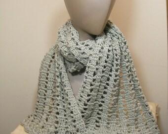 Ladies knit scarf crochet/knit sage