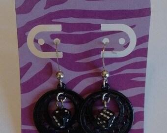 BLACK DICE rockabilly/punk silver plated dangle hoop earrings