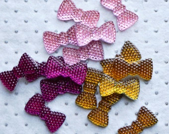 20 x 10mm ACRYLIC GEMS Bow Ties  (15 count) Faceted Flatback Decoden Rhinestones