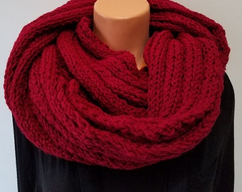 Rust Hand Knit Infinity Scarf