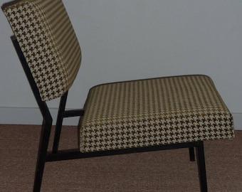 Armchair vintage 50s/60s spirit Pierre Guariche houndstooth Chair