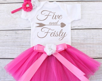 Five and Feisty. Girls Birthday Tutu Outfit. Five Year Old Birthday Outfit. Birthday Outfit 5. Fifth Birthday Outfit. T04 5BD (HPINK)