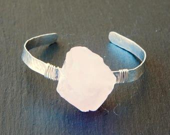 Crystal cuff, rose quartz cuff, raw rose quartz, crystal bracelet, crystal jewelry, rose quartz bracelet, rose quartz  jewelry