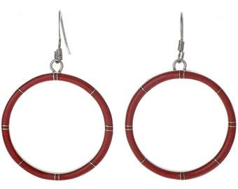 Medium Coral Inlaid Hoop Earrings French Hook