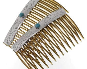 Silver Turquoise Hair Combs Set of Two Navajo Accessories