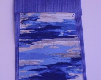 Multi blue watercolor on Lt blue pinstripes           60