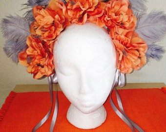 Orange Grey Feathers & Flowers Crown / Headband